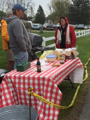 Selling Hot Dogs At Yard Sale
